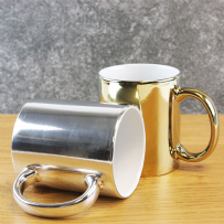 Gold or Silver 350 ml Metallic Mugs